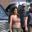 Exclusif - Salma Hayek et Owen Wilson sur le tournage du film produit par Amazon 'Bliss' à Los Angeles, le 5 juillet 2019.