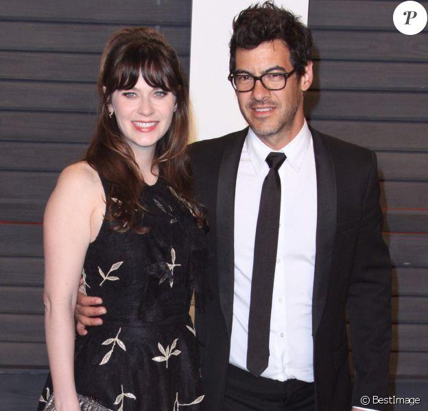 """Zooey Deschanel et sa femme Jacob Pechenik - People à la soirée """"Vanity Fair Oscar Party"""" après la 88ème cérémonie des Oscars à Hollywood, le 28 février 2016.28/02/2016 - Hollywood"""