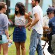 """Exclusif - Chris Evans et Jenny Slate sur le tournage de """"Gifted"""" à Atlanta le 9 octobre 2015."""