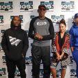 Dennis Rodman et les présentateurs de l'émission The Breakfast Club, sur Power 105.1. New York, septembre 2019.