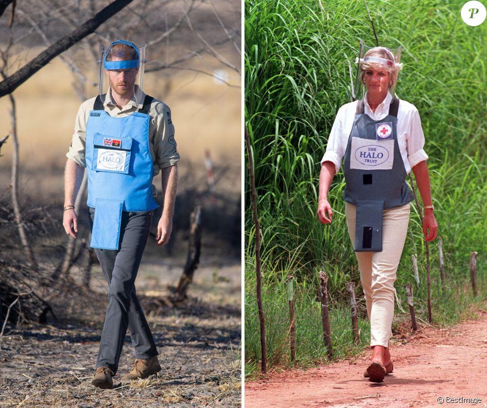 Le prince Harry, à l'instar de sa mère Lady Di en 1997, visite un champ de mines anti-personnelles à Dirico, dont l'élimination est entreprise par l'association Halo Trust (l'association qui enlève les débris laissés par la guerre, en particulier les mines terrestres). Angola, le 27 septembre 2019.