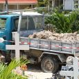 Exclusif - Illustration des travaux en cours à côté de la tombe de Johnny Hallyday au cimetière de Lorient à Saint Barthélemy le 17 septembre 2019. La construction concerne un caveau de 4 places qui accueillera la tombe de Johnny.