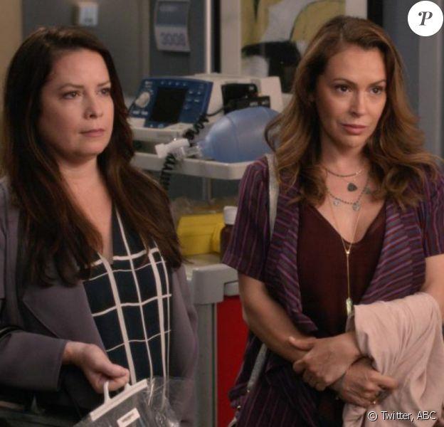 ABC a partagé cette photo d'Alyssa Milano et Holly Marie Combs de dans la 16e saison de Grey's Anatomy.
