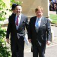 David Furnish et Elton John - Les invités au mariage du prince Harry et Meghan Markle à la sortie de la chapelle St. George au château de Windsor, Royaume Uni, le 19 mai 2018.