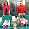 Esmeralda de Belgique chez elle à Londres avec son mari Salvador Moncada et leurs enfants Alexandra et Leopoldo, en 2004.