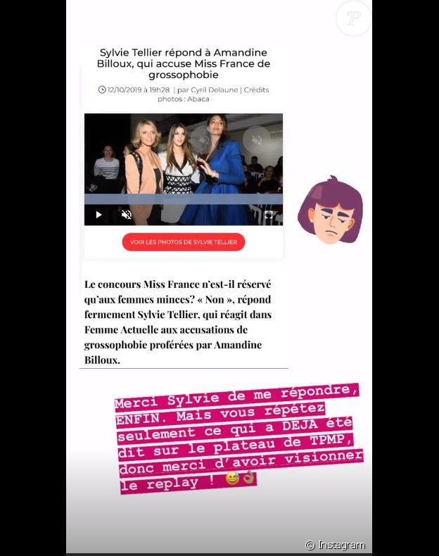 Amandine Billoux répond à Sylvie Tellier le 13 octobre 2019 sur Instagram.