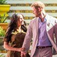 """Le prince Harry, duc de Sussex, et Meghan Markle, duchesse de Sussex, lors des célébrations de la fête du patrimoine dans le quartier de Bo Kaap dit """"Cape Malay"""" au Cap, Afrique du Sud, le 24 septembre 2019."""