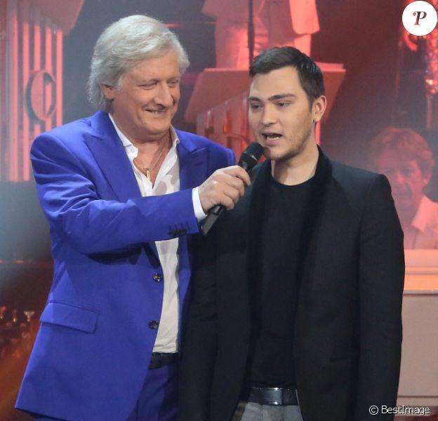 """Patrick Sébastien et Jeff Panacloc - Enregistrement de l'émission """"Les années bonheur"""" à Paris le 5 mars 2014"""
