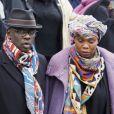 Lilian Thuram et sa compagne Kareen Guiock - Arrivées et sorties des obsèques de Jean-Michel Martial au cimetière du Père Lachaise à Paris. Le 23 octobre 2019.