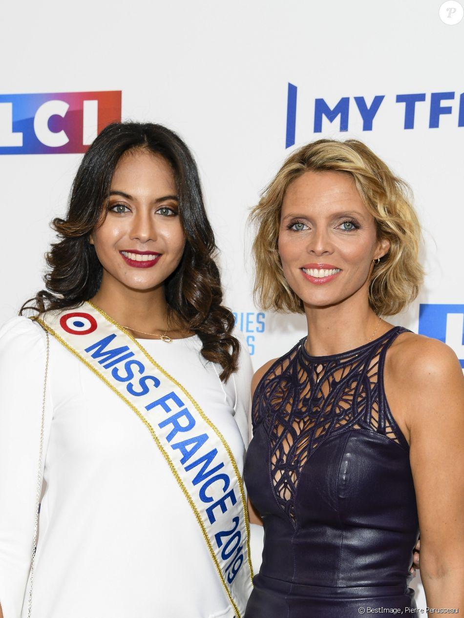 Vaimalama Chaves (Miss France 2019) et Sylvie Tellier - Soirée de rentrée 2019 de TF1 au Palais de Tokyo à Paris, le 9 septembre 2019. © Pierre Perusseau/Bestimage