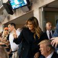 Le Président des Etats-Unis Donald Trump et sa femme la Première Dame Melania Trump se sont fait huer par la foule au match de baseball des World Series au Nationals Park à Washington, le 27 octobre 2019.