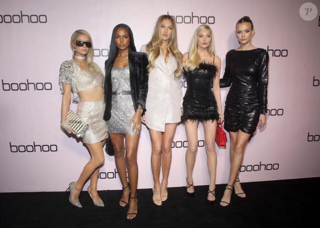Paris Hilton, Jasmine Tookes, Romee Strijd, Diplo, Elsa Hosk et Josephine Skriver assistent à la soirée Boohoo dans la boîte de nuit Nightingale Plaza à West Hollywood, le 7 novembre 2019.