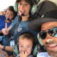Tony Parker, sa femme Axelle et leurs enfants Josh et Liam en hélicoptère dans le Vercors le 26 juin 2019, photo Instagram.
