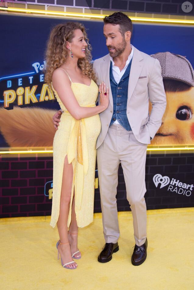 Blake Lively enceinte et son mari Ryan Reynolds à la première de Pokemon Detective Pikachu au Military Island sur Times Square à New York, le 2 mai 2019.