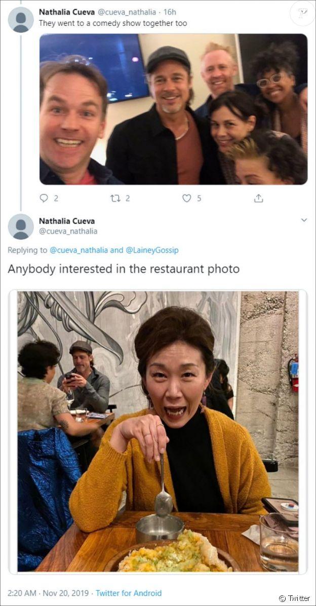 Capture Twitter- Compte désormais supprimé de l'internaute ayant obtenu une photo d'Alia Shawkat et Brad Pitt dans un restaurant de Los Angeles. Les images dateraient du 16 novembre 2019.