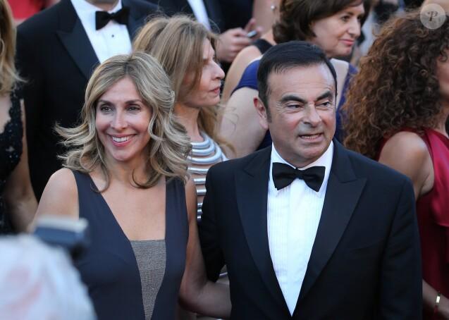 """Carlos Ghosn et sa compagne Carole Nahas - Montée des marches du film """"The Little Prince"""" (Le Petit Prince) lors du 68 ème Festival International du Film de Cannes, à Cannes le 22 mai 2015."""