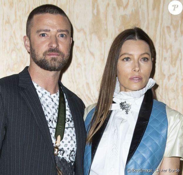 Justin Timberlake et sa femme Jessica Biel - Photocall du défilé de mode PAP femme printemps-été 2020 Louis Vuitton à Paris. Le 1er octobre 2019 © Olivier Borde / Bestimage
