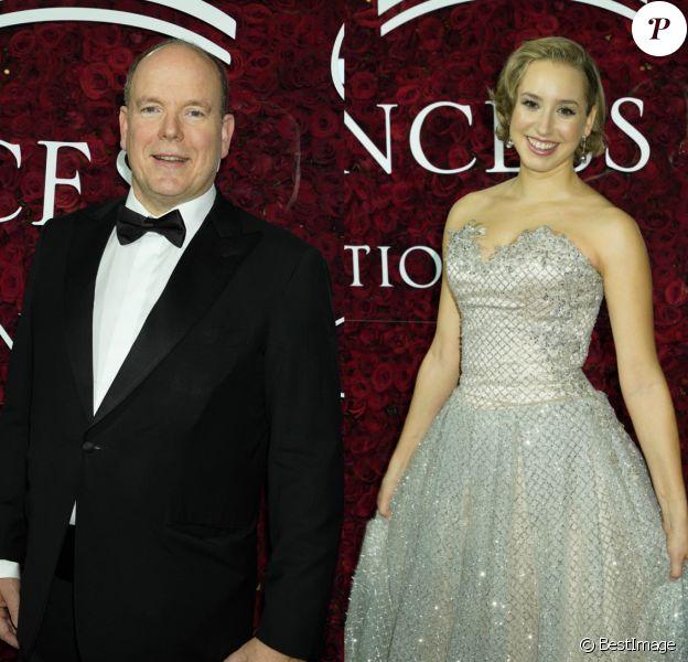 Le prince Albert II de Monaco et sa fille Jazmon Grace Grimaldi au photocall de la soirée Princess Grace Awards 2019 à l'hôtel Plaza de New York le 25 novembre 2019.