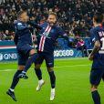 Kylian Mbappé, Neymar et Andel Di María lors du match de Ligue 1 Paris Saint-Gemain - FC Nantes au Parc des Princes. Paris, le 4 décembre 2019.