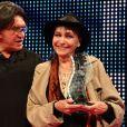 """Jean-François Davy et Anna Karina - Clôture des """"Rencontres Internationales du Cinéma"""" et remise du prix Henri-Langlois à Vincennes le 3 février 2014."""