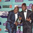 Paul Pogba avec ses frères Florentin Pogba et Mathias Pogba à la soirée MTV Europe Music Awards au Arena Wembley à Londres, le 12 novembre 2017 © CPA/Bestimage