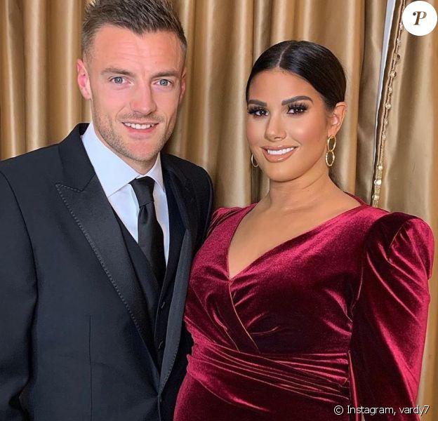 Jamie Vardy et sa femme Rebekah enceinte de leur troisième enfant lors d'une soirée caritative organisée le 6 décembre 2019.