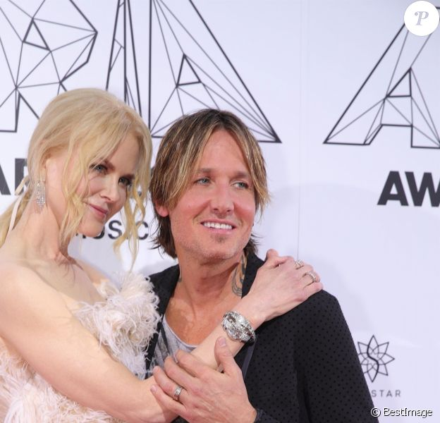 "Keith Urban et sa femme Nicole Kidman au photocall des ""Aria Awards"" à Sydney, le 28 novembre 2018."