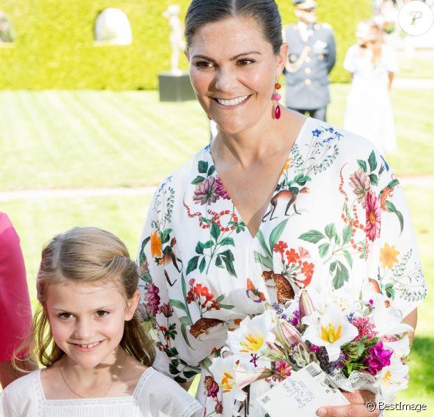 La princesse Victoria de Suède, la princesse Estelle de Suède - La famille royale de Suède célèbre l'anniversaire (42 ans) de la princesse Victoria de Suède à la Villa Solliden à Oland en Suède, le 14 juillet 2019.