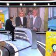 Brigitte Macron et Didier Deschamps en direct dans le JT de 13 heures, sur TF1, le 8 janvier 2020, depuis le centre hospitalier d'Orléans.