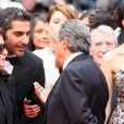 """Chantal Lauby, Ary Abittan et Christian Clavier - Montée des marches du film """"Jimmy's Hall"""" lors du 67e Festival du film de Cannes. Le 22 mai 2014."""