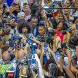 Clémence Botino, Miss France 2020 et Ophély Mézino, première dauphine de Miss Monde 2019, accueillies en grande pompe à l'aéroport de Pointe-à-Pitre, en Guadeloupe. De retour sur leur île natale, un mois après leurs sacres. Photo de Alain Cassang/ABACAPRESS.COM