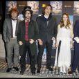 """Patrice Renson Sean Lennon, Vanessa Paradis, -M- et Eric Bergeron à l'avant-première du film """"Un monstre à Paris"""", au cinéma Le Trianon, le 8 octobre 2011."""