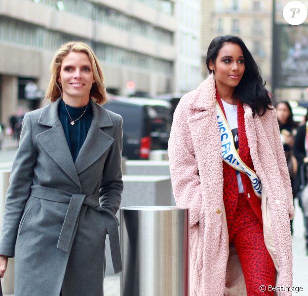 Exclusif - Sylvie Tellier (directrice générale de la société Miss France) et Clémence Botino, Miss France 2020, arrivent chez Sothys (produits de beauté) à Paris le 17 décembre 2019.