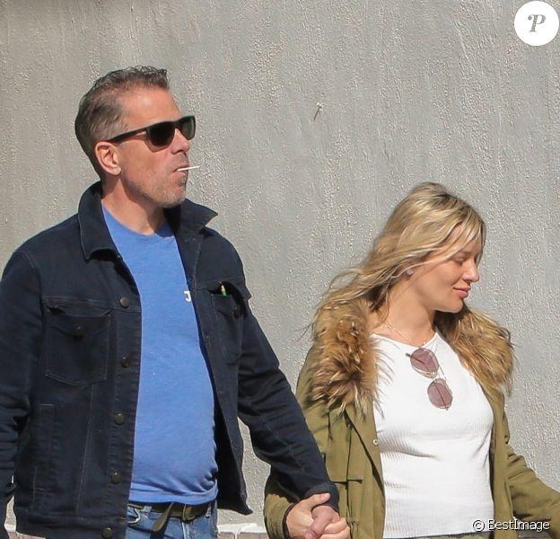 """Exclusif - Hunter Biden (le fils de J. Biden) et sa femme Melissa Cohen, enceinte, vont dîner au restaurant """"Zinque"""" à Los Angeles, le 17 janvier 2020."""