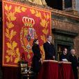 La reine Letizia et le roi Felipe VI d'Espagne lors de la messe en hommage à l'infante Pilar de Bourbon dans la basilique du monastère de l'Escurial à Madrid, le 29 janvier 2020. La soeur de l'ancien roi d'Espagne est décédée le 8 janvier 2020.