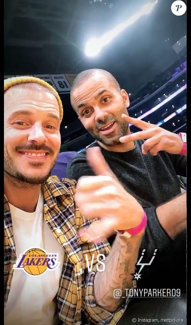 M. Pokora et Tony Parker réunis pour un match de basket au Staples Center de Los Angeles, le 4 février 2020.
