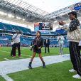 Jay-Z et sa fille Blue Ivy Carter lors du Super Bowl LIV opposant les San Francisco 49ers aux Kansas City Chiefs, au Hard Rock Stadium. Miami, le 2 février 2020.