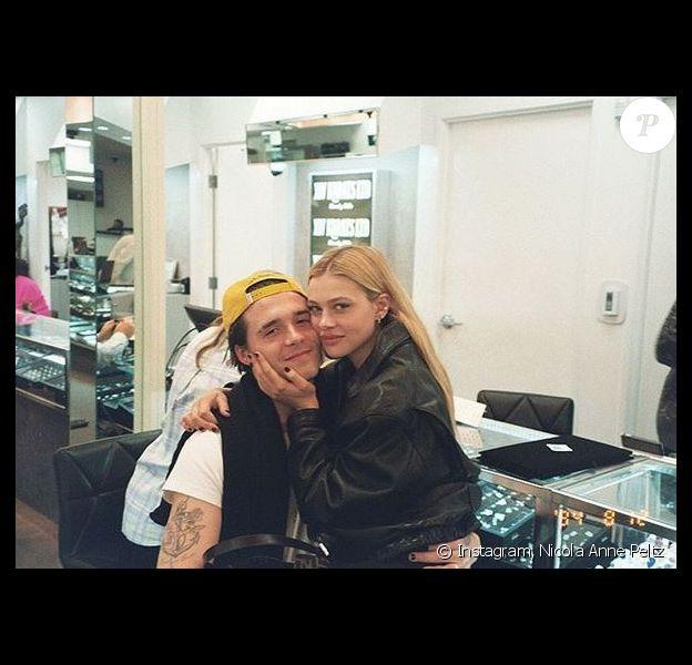 Brooklyn Beckham et sa petite amie Nicola Anne Peltz. Janvier 2020.