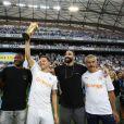 Steve Mandanda, Florian Thauvin, Adil Rami et Franck Le Gall - Match OM-Toulouse FC pour le lancement de la saison 2018/2019 du championnat de football de Ligue 1 au stade Vélodrome à Marseille. Le 10 août 2018.