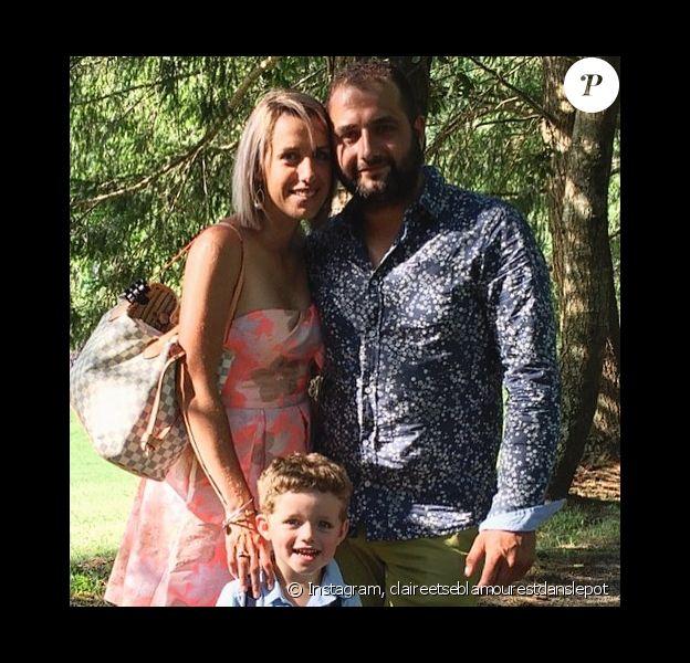 """Claire de """"L'amour est dans le pré 2015"""" avec son fiancé Sébastien et leur fils Mattéo, le 5 août 2019, sur Instagram"""
