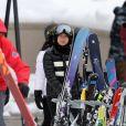 """Exclusif - Joy Hallyday, Jade Hallyday - Laeticia Hallyday et son compagnon Pascal Balland lors d'une journée au ski à la station """"Big Sky"""" dans le Montana avec leurs filles respectives, le 16 février 2020."""