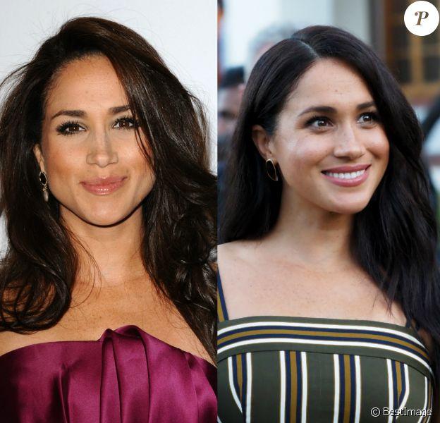 L'évolution maquillage de Meghan Markle, d'actrice à Hollywood à duchesse de Sussex. Ici en 2016 et 2019.
