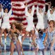 Shakira et Jennifer Lopez sur scène pour le show lors de la mi-temps du 54e Super Bowl au Hard Rock Stadium à Miami le 2 février 2020.