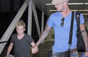 David Beckham, tête à tête avec son fils aîné... déjà très looké !