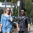 Joe Jonas et sa femme Sophie Turner enceinte dans le quartier de Los Feliz à Los Angeles, le 4 mars 2020