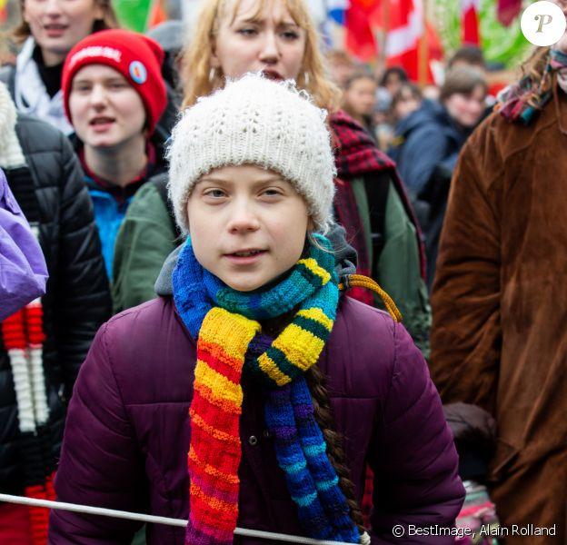 Greta Thunberg, la jeune militante écologiste suédoise lors d'une marche, afin de réclamer une politique climatique plus ambitieuse à l'Union européenne, dans les rues de Bruxelles, Belgique, le 6 mars 2020. © Alain Rolland/ImageBuzz/Bestimage