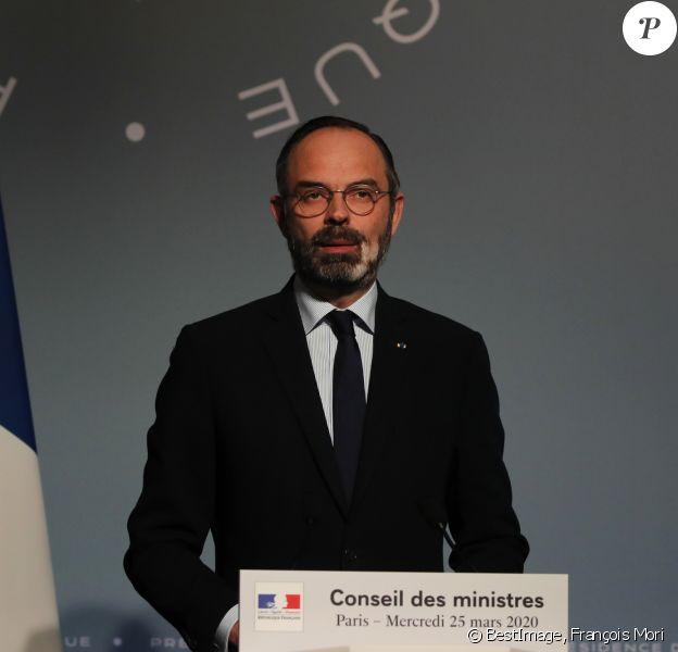 Le premier ministre Edouard Philippe - Conférence de presse après le conseil des ministres au palais de l'Élysée à Paris le 25 mars 2020. © François Mori / Pool / Bestimage