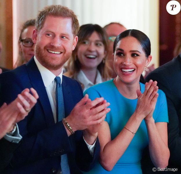 Le prince Harry, duc de Sussex, et Meghan Markle, duchesse de Sussex lors de la cérémonie des Endeavour Fund Awards au Mansion House à Londres, Royaume Uni, le 5 mars 2020.