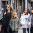 Exclusif - Angelina Jolie fait du shopping avec ses filles Zahara et Vivienne dans le quartier de East Village à New York, le 23 février 2019