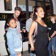 Christina Milian, enceinte, son compagnon Matt Pokora et sa fille Violet Madison sont allés dîner dans le restaurant Madeo à Beverly Hills, le 8 août 2019.